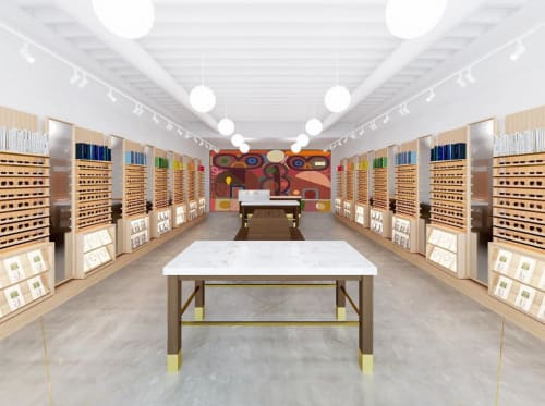 Murals by Austin Eddy seen at Warby Parker, Chicago - Abstract Mural