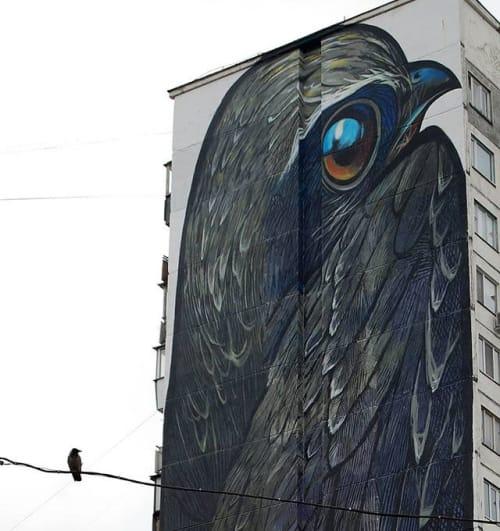 "Murals by Street Art by Alex Maksiov seen at Akademika Bulakhovs'koho St, 40, Kyiv - Mural  ""Swift"""