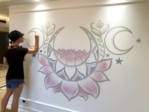 Murals by Urbanheart seen at Private Residence - Moon Lotus Mural