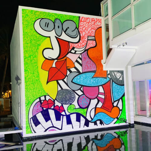 Murals by Art by D-Snow seen at Private Residence, Miami Beach - Music is colourful
