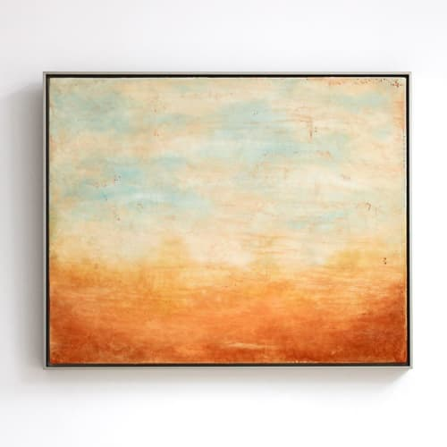 Paintings by Linda Cordner seen at Creator's Studio, Boston - Morning Glow Encaustic Painting