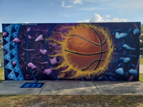 Lake Eva Community Park Basket Ball Courts mural   Murals by Drake Arnold   Wood Ave & S 6th St in Haines City