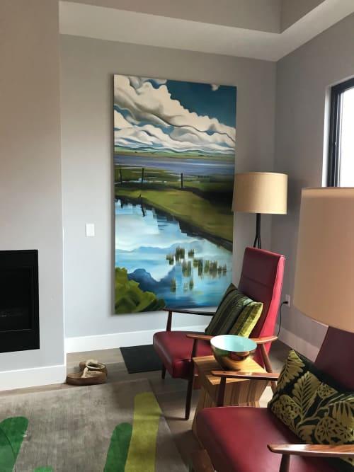 Paintings by Rachel Teannalach seen at Private Residence, Boise - Portal - Centennial Marsh 88x48