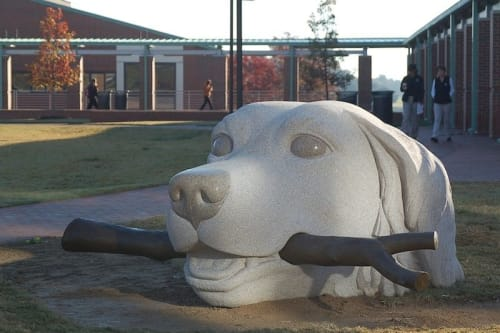 Public Sculptures by Jim Sardonis seen at Private Residence, Raleigh - Swimming Retriever