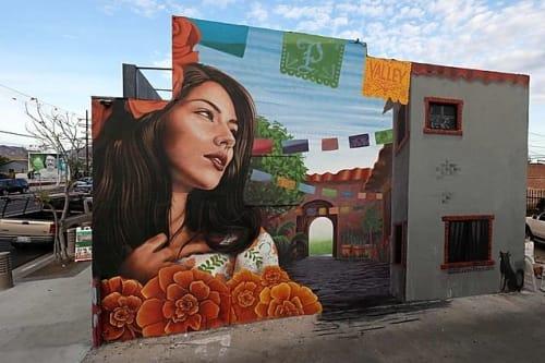 Street Murals by Levi Ponce seen at Mural Mile, Los Angeles - Recuerdos (memories)