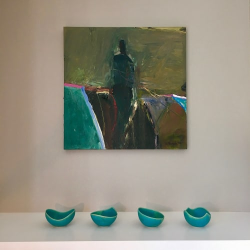 Art & Wall Decor by Lisa Fleming Ceramics seen at Private Residence, San Francisco - Turquoise Crystal bowls in private residence with Brooke Temple paintings