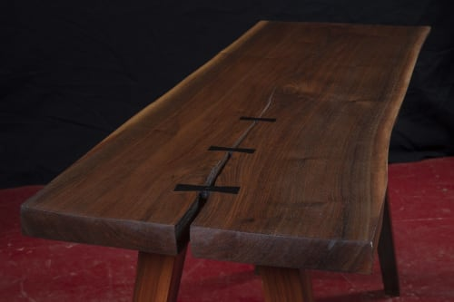 Tables by Fletcher House Furniture seen at Fletcher House Furniture, Westford - Live Edge Writing Desk