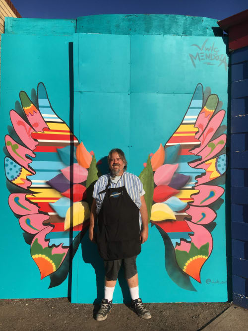 Street Murals by Jwlç Mendoza seen at One Stop Bike Shop, Denver - Westwood Wings