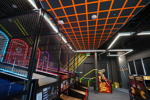 Wall Treatments by ANTLRE - Hannah Sitzer seen at Google Java, Sunnyvale - Neon game room