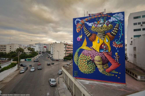 Street Murals by Danaé Brissonnet seen at Casablanca, Casablanca - Mermaid Monster