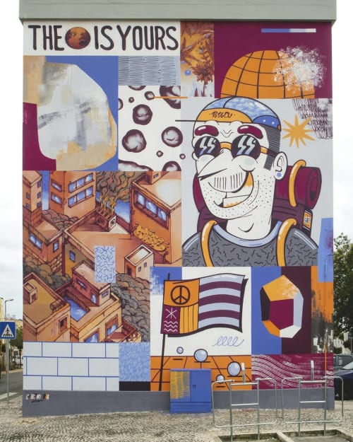 Murals by Fedor Rua seen at Bairro da Torre, Carcavelos - Collaborative Mural