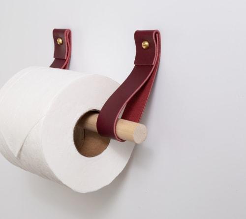 Hardware by Keyaiira   leather + fiber seen at Private Residence, Santa Rosa - Leather Toiler Paper Holder Kit