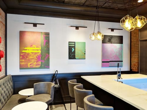 Paintings by Tanner Gauvin seen at Fort Point Channel Historic District, Boston - Abstract Painting