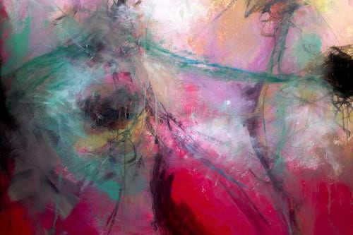 Paintings by Cheryl Johnson Artist seen at Private Residence, Charlotte - Amaranth Pink No. 8 Painting, 28 H x 38 W x 0.1 in Cheryl Johnson  United States  $990  Prints from $100