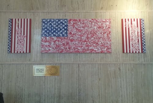 Paintings by Req. Art seen at 55 Broadway, New York - Pledge of Allegiance