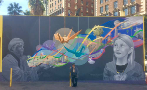 Street Murals by Avid Illustrations seen at Pershing Square, Los Angeles - Unleashing LA Creatives