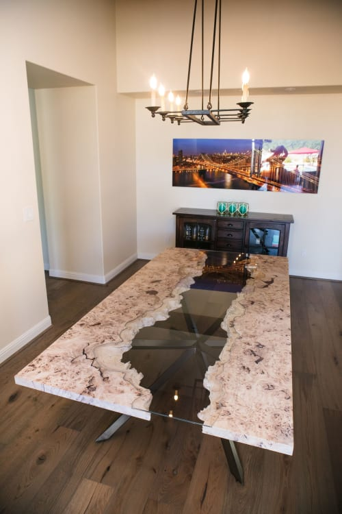 Tables by Lumberlust Designs seen at Private Residence, Scottsdale - French Mappa Burl Glass Inlay River Modern Dining Table