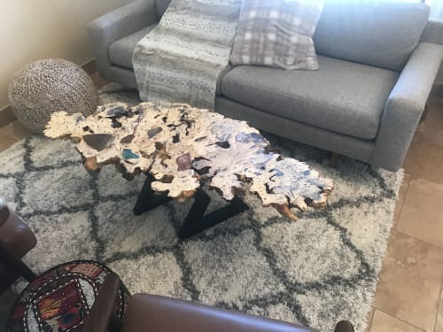 Tables by Natural Wood Edge Creations by Rick Griggs seen at Private Residence, Scottsdale - Live Edge Buckeye Burl Coffee Table with Stone Inlay