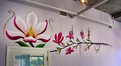 Murals by Monica Rose Kelly seen at Magnolia Yoga Studio, New Orleans - Magnolia Yoga Interior Mural