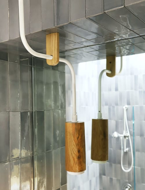 Pendants by Buzzell Studios seen at Private Residence, Los Angeles - Olsen Wood Sink Pendant