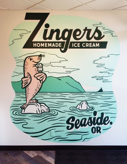 Murals by J&S Signs seen at Zingers Homemade Ice Cream, Seaside - Zingers Homemade Ice Cream