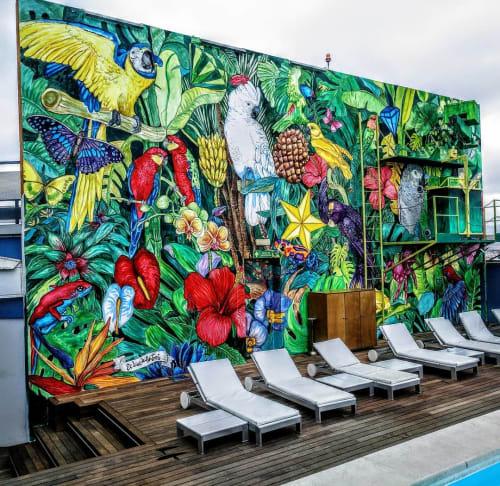 Murals by El Dios De Los Tres seen at Hotel Barcelona Princess, Barcelona - Tropical Birds