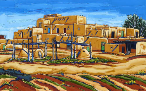 Paintings by Neil Myers Art seen at Private Residence, Tucson - Spring at Taos Pueblo