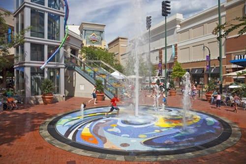 "Public Mosaics by Deirdre Saunder seen at Silver Spring Metro Plaza, Silver Spring - ""Spring Creek"" Interactive Fountain"
