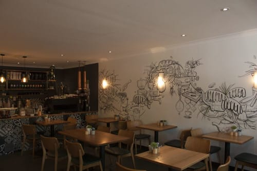 Murals by Sam Shennan seen at Janeks Cafe, Bowral - Coffee Journey