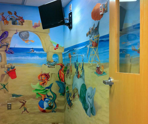 Murals by Gayle Mangan Kassal seen at Hasbro Children's Hospital, Providence - Pediatric Oncology Treatment Room