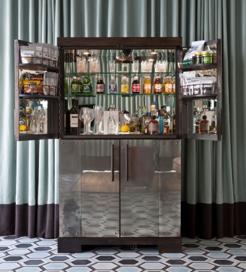 Furniture by Rupert Bevan Ltd seen at Soho Beach House, Miami Beach - Antiqued Mirror Cocktail Cabinet