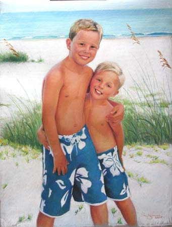 Paintings by Lisa Gleim Fine Art seen at Private Residence, Atlanta - Portrait of 2 Young Boys