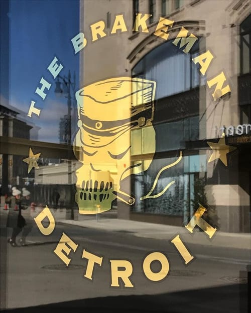 Signage by Motown Sign Co. seen at The Brakeman, Detroit - 23k gold leaf