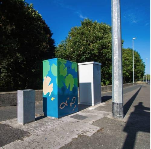 Street Murals by Ró seen at Dodder Park Road, Dublin - 'Uisce'