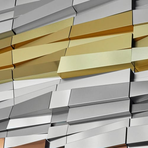 """Sculptures by MORAN BROWN seen at Key Tower, Cleveland - """"Strata"""" Wall Sculpture"""