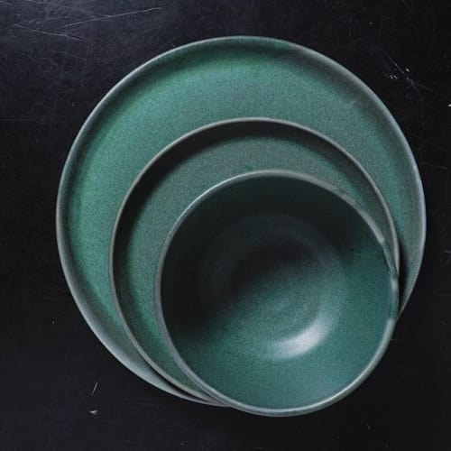 Ceramic Plates by Monsoon Pottery seen at Citronelle, Syracuse - Green Dinnerware