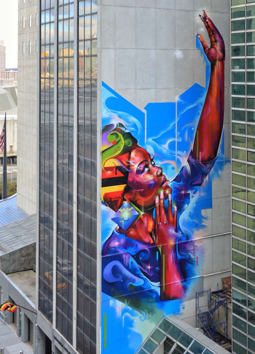 Street Murals by Mr Cenz seen at 336 E 45th St, New York - Keep on reaching
