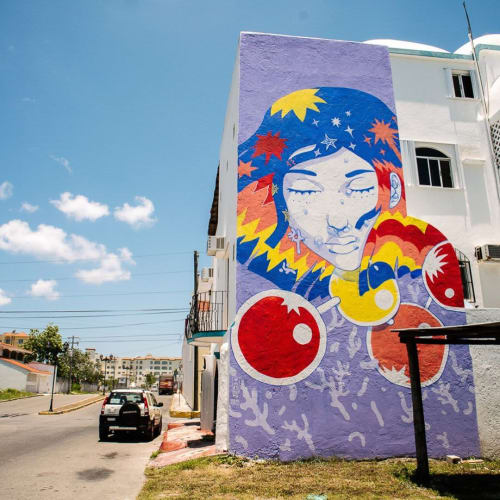 "Street Murals by Pogo seen at San Miguel de Cozumel, San Miguel de Cozumel - ""Like the Sky Without Stars (Like the Sky Without Stars)"""