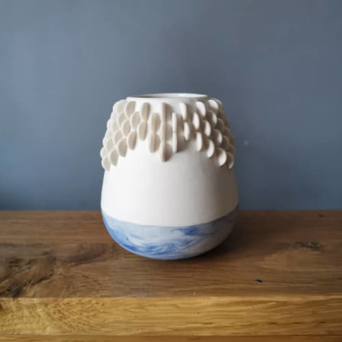 Vases & Vessels by Ruth Harrison Ceramics seen at Private Residence - Vessel with Marble Base