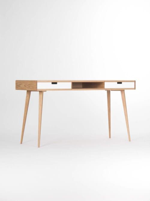 Modern oak desk with white drawers and storage, mid century | Tables by Mo Woodwork | Stalowa Wola in Stalowa Wola