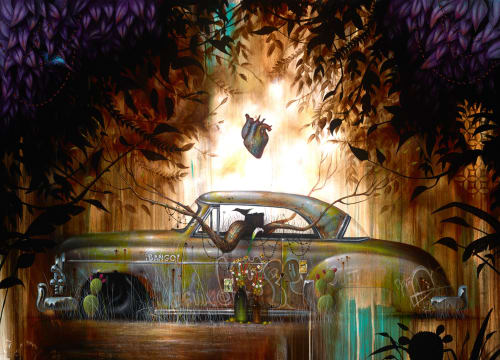 Paintings by Johnny Rodriguez aka KMNDZ seen at MOLAA (Museum of Latin American Art), Long Beach - Atascado