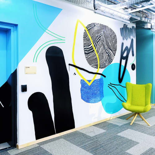 Murals by Kate Frizalis seen at Facebook, Tel Aviv-Yafo - Abstract murals at Facebook office
