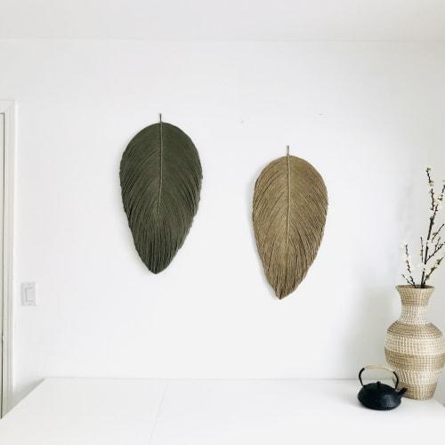 Macrame Wall Hanging by YASHI DESIGNS - Set of XL Macrame Leaf wall Hanging - THE XL LEAF set