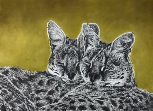 Paintings by Taylor Ann seen at Creator's Studio, Henderson - African Serval Cats Painting