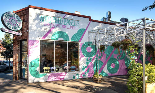 Murals by Marcella Kriebel seen at Call Your Mother, Washington - Exterior and Interior Bagel Pattern Mural