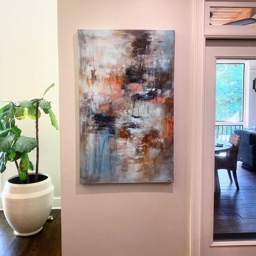 """Paintings by Christina Doelling, Abstract Artist seen at Private Residence - """"Walking the Line"""" ~ 30x48"""