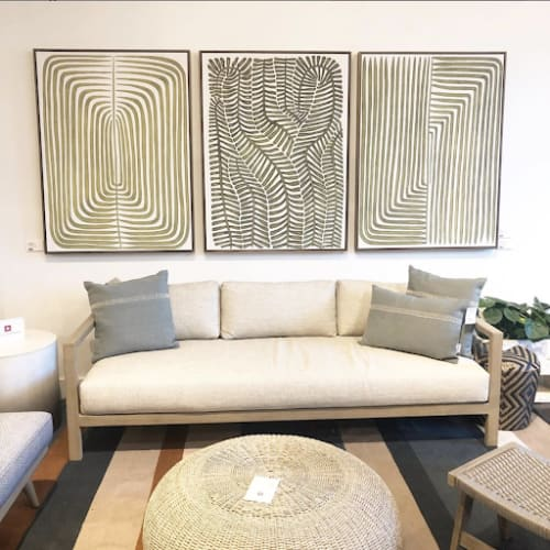 Paintings by Marianne Hendriks seen at Four hands furniture warehouse, Austin - Paintings