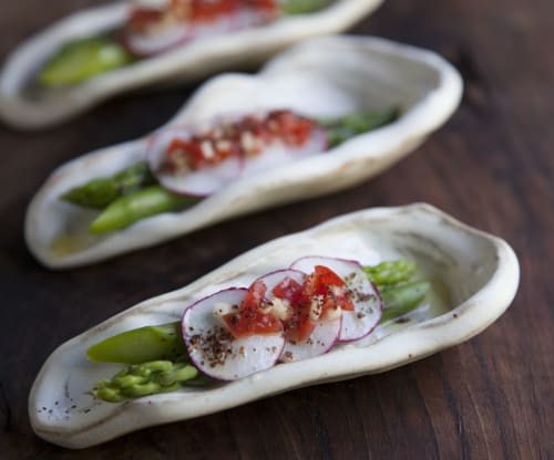 Ceramic Plates by Crazy Green Studios seen at Budy Finch Catering & Revelry, Flat Rock - Oyster Shell Tasting/Amuse Plate