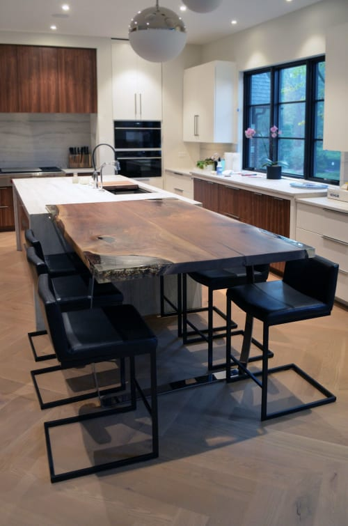 Tables by Abodeacious seen at Private Residence, Glen Ellyn - Walnut with epoxy inlay table
