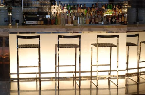 Chairs by Mark Albrecht Studio seen at The Museum of Modern Art, New York - Metal Back Bar Stools